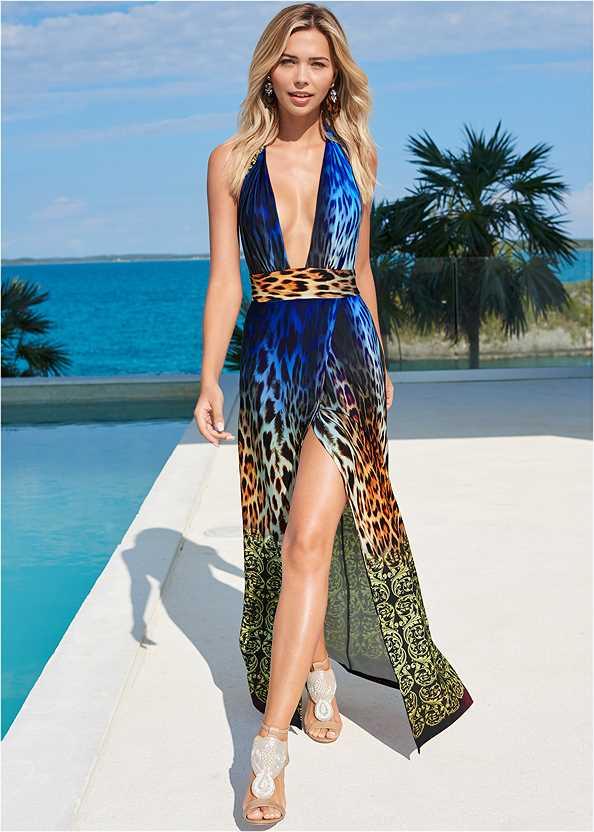 Abstract Print Maxi Dress,Beaded Heels