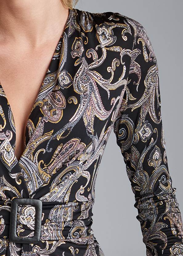 Alternate View Paisley Print Belted Top