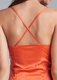 Alternate View Drape Front Satin Dress