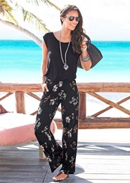 Front View Casual Floral Jumpsuit
