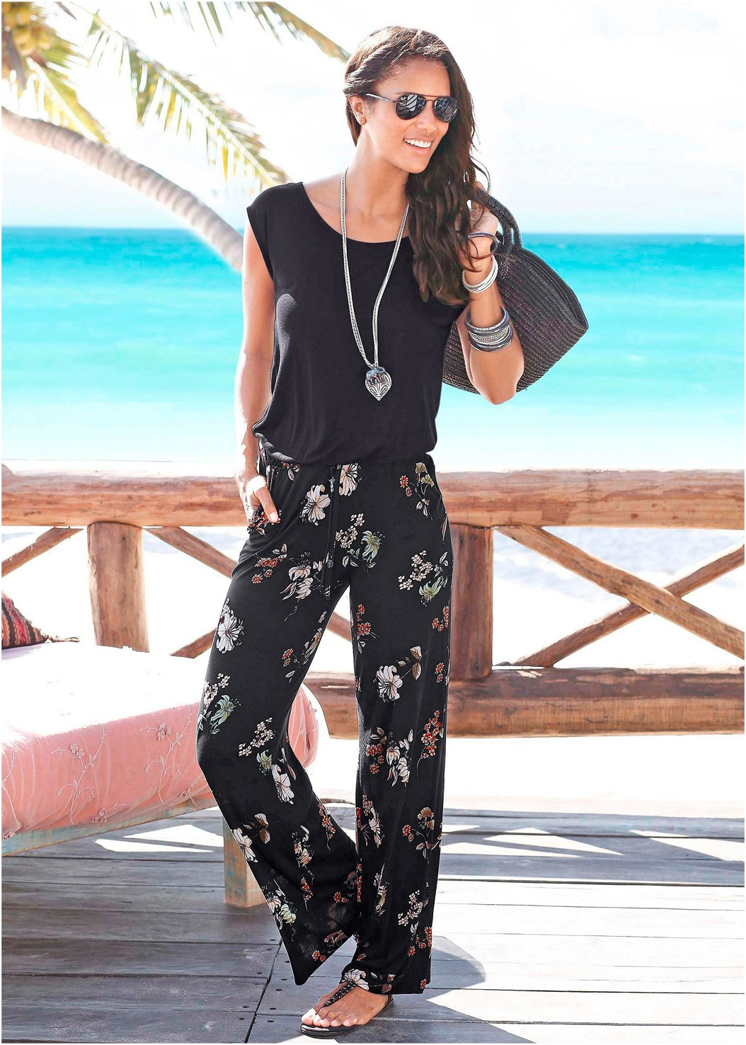 Casual Floral Jumpsuit,Embellished Sandals,Peep Toe Booties,Square Hoop Earrings