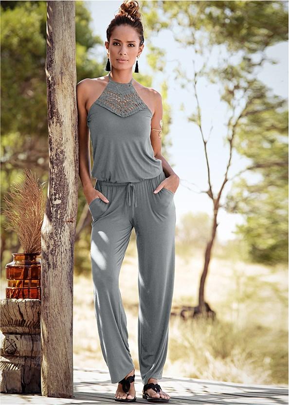 Crochet Detail Jumpsuit,Bow Detail Print Heels,Studded Matte Hoops