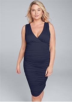 plus size ruched v-neck dress