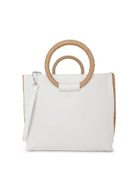 Flatshot back view Raffia Detail Bag