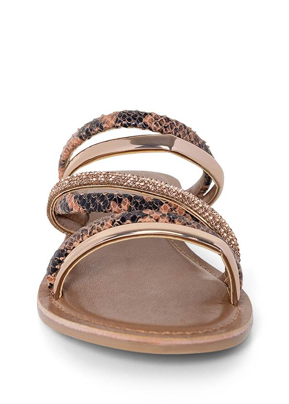 Shoe series front view Animal Print Strappy Slides