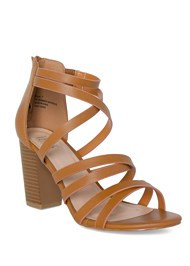 Front View Strappy Block Heels