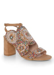 Front View Beaded Block Heels