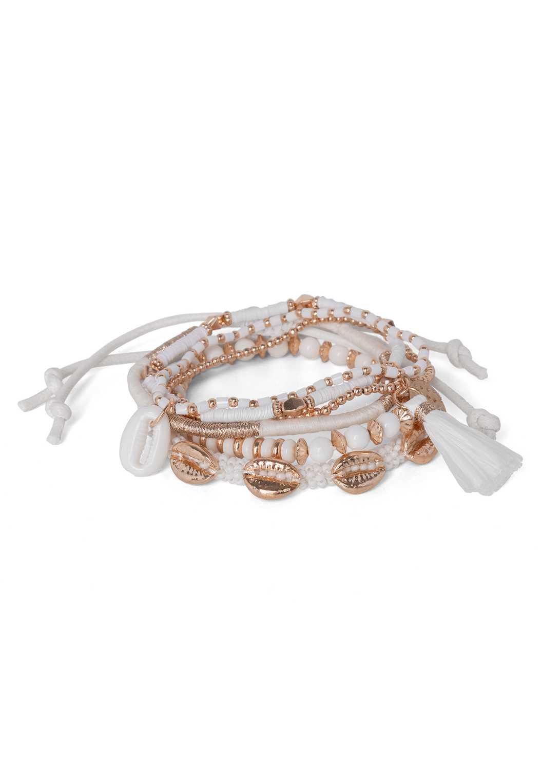 Shell Detail Bracelet Set,Frayed Cut Off Jean Shorts,Wooden Handbag