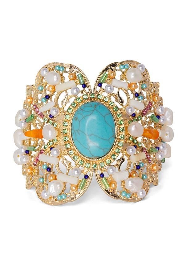 Beaded Cuff Bracelet,Beaded Statement Earrings