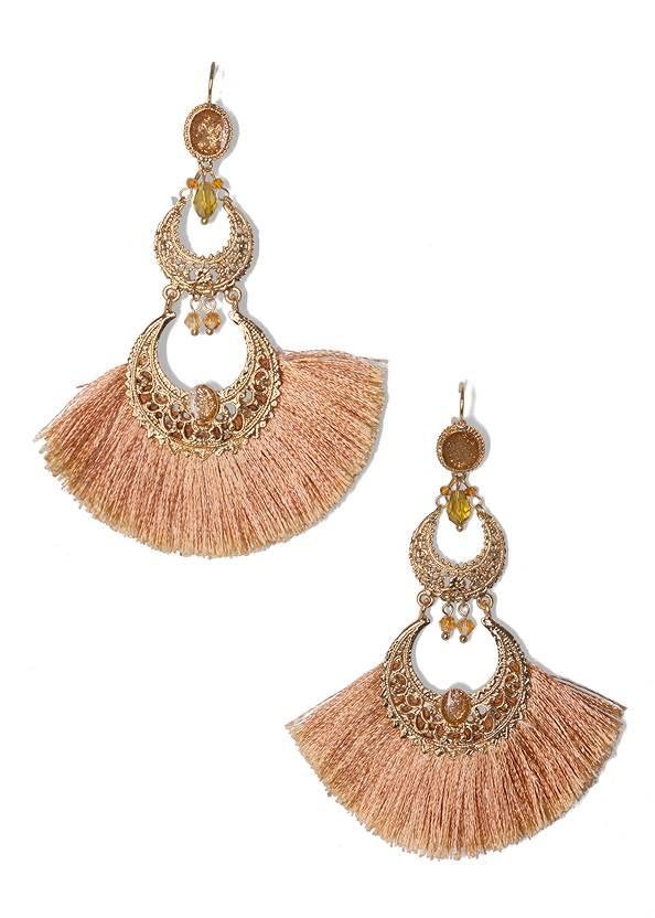 Fringe Drop Earrings,Multi Strap Block Heel Mule,Shell Detail Long Necklace,Embellished Tassel Clutch