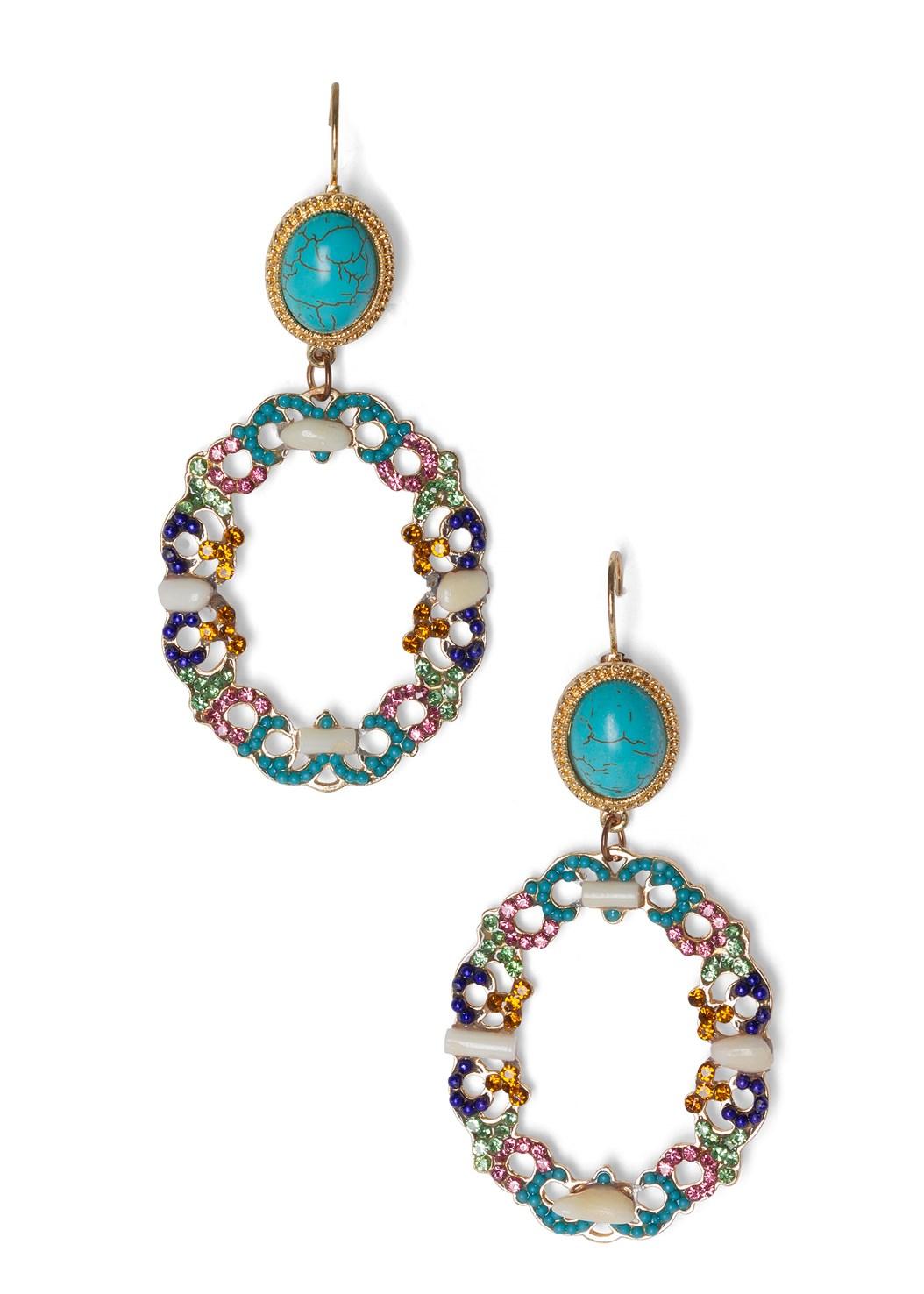 Beaded Statement Earrings,Printed Embellished Dress