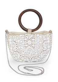 Front View Beaded Oval Bag