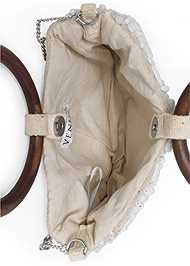 Flatshot open view Beaded Oval Bag