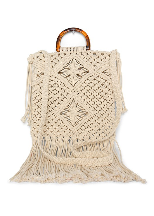 MACRAME HANDBAG,CUT OFF JEAN SHORTS
