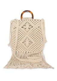 Flatshot back view Macrame Handbag