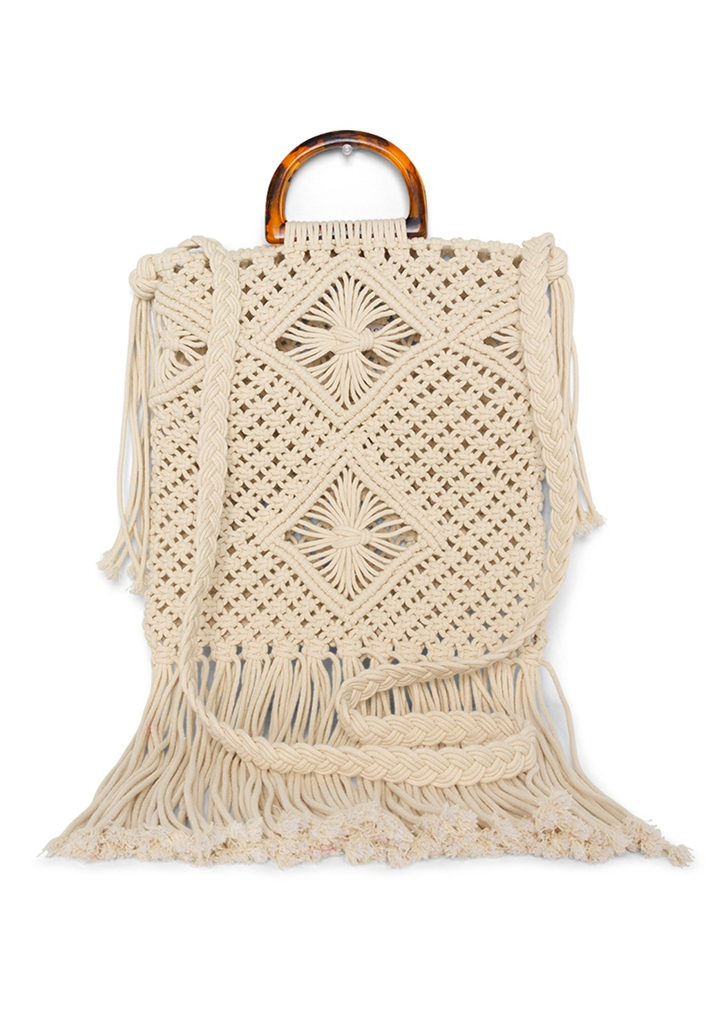 Macrame Handbag,Frayed Cut Off Jean Shorts
