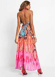 Full back view High Low Printed Dress