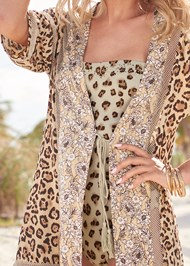 Detail front view Tassel Tie Kimono Cover-Up