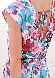 Back View Waist Tie Romper Cover-Up