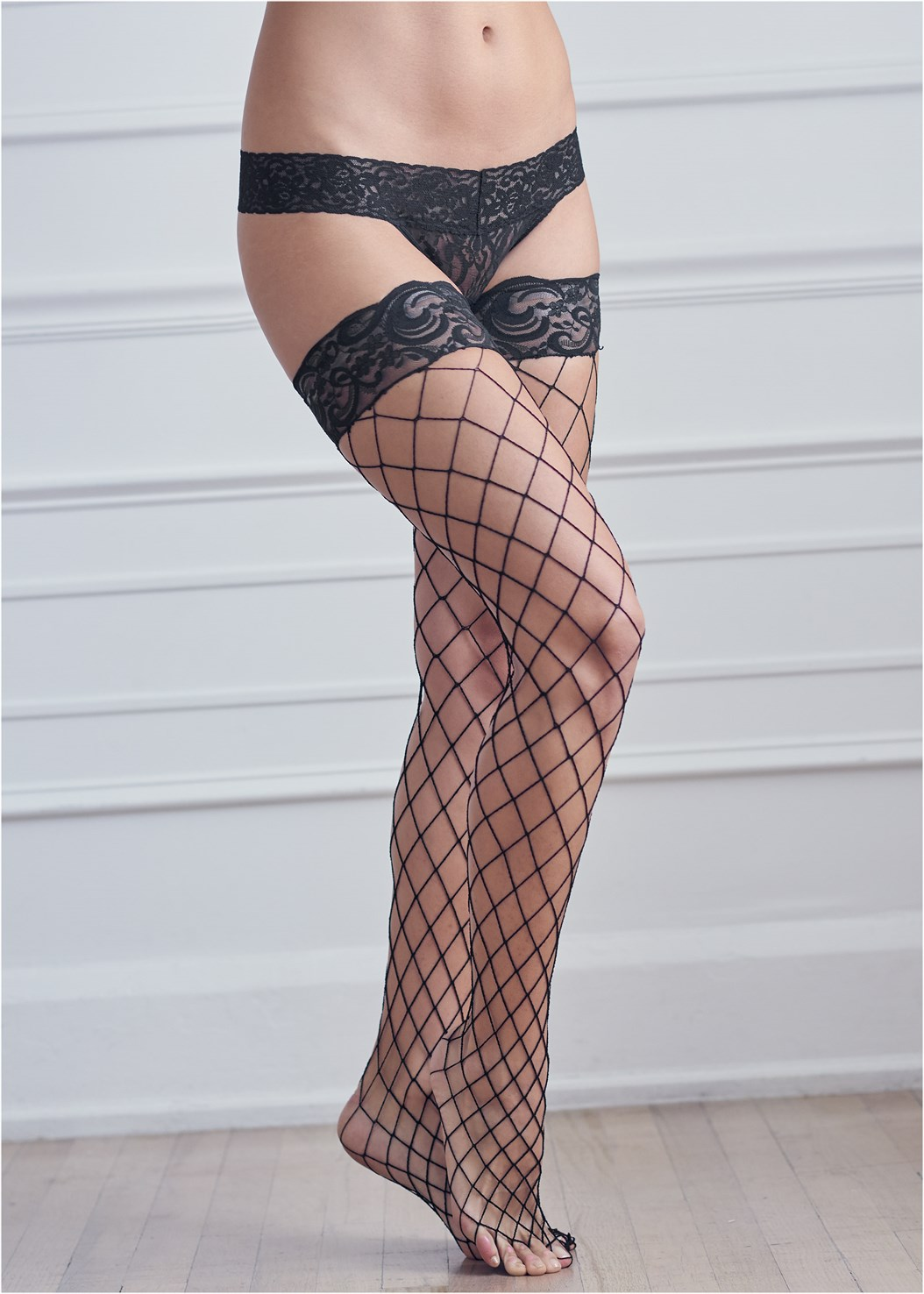 Fishnet Thigh Highs,Lace Thong 3 For $19
