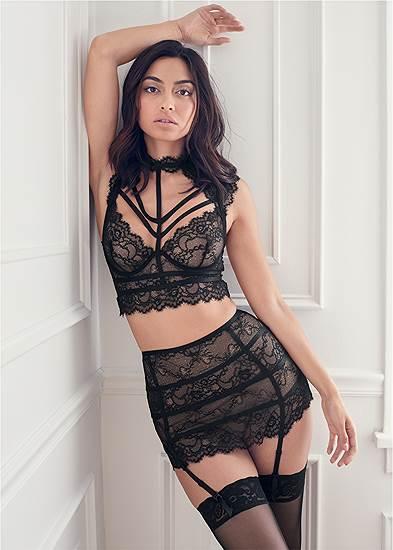 Lace Bra Skirt Set