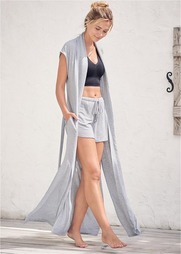 Sleeveless Sleep Robe,Sleep Tank,2Pk Wire-Free Comfort Bra,Sleep Shorts