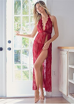 deep v lace long gown