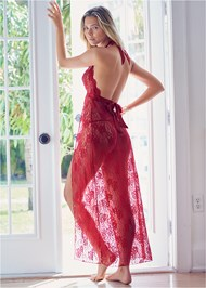 Back View Deep V Lace Long Gown