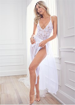 lace bodysuit and skirt set