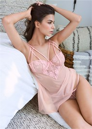 Front View Strappy Babydoll/Panty Set