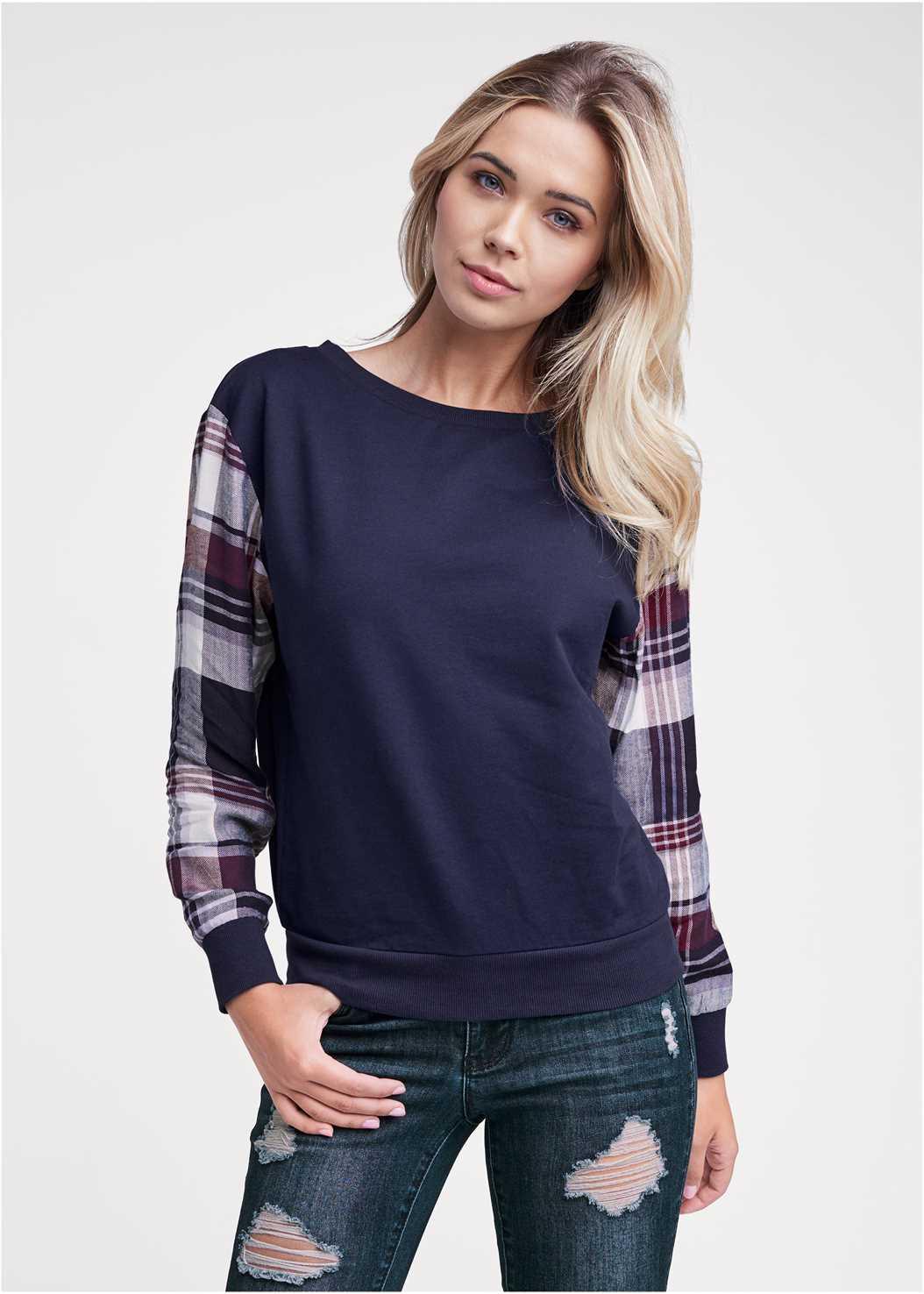 Plaid Sleeve Sweatshirt,Ripped Skinny Jeans