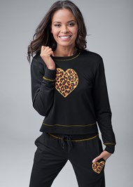 Cropped front view Leopard Heart Lounge Set