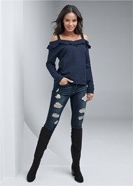 Full front view Ruffle Detail Sweatshirt