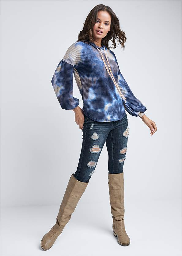 Full Front View Tie Dye Waffle Knit Top