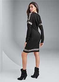 Full back view Leopard Detail Lounge Dress