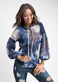 Cropped front view Tie Dye Waffle Knit Top