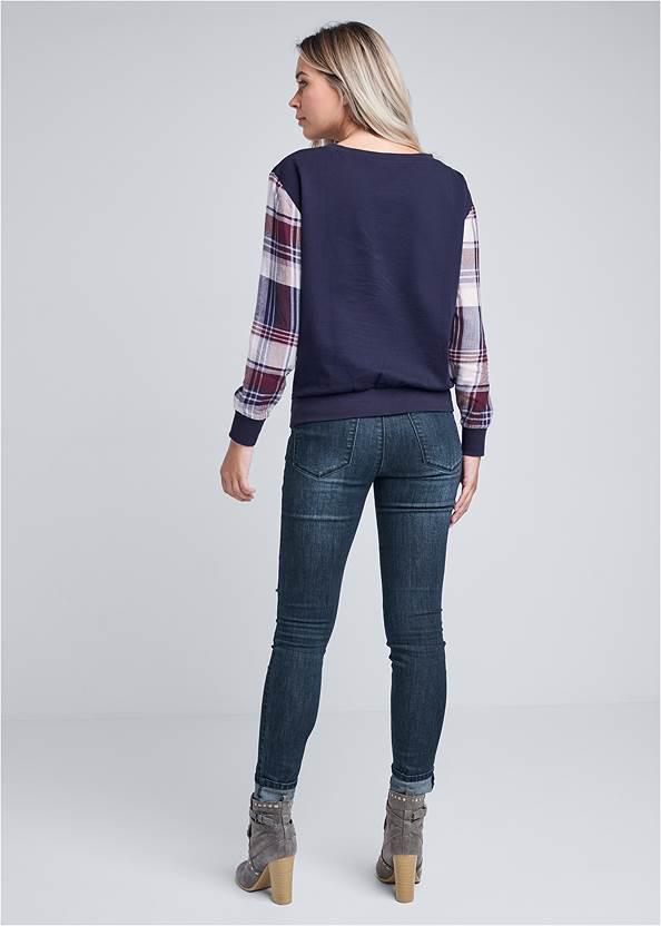 Full back view Plaid Sleeve Sweatshirt