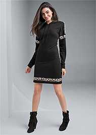 Full front view Leopard Detail Lounge Dress