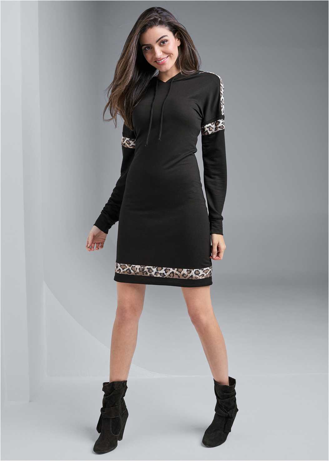 Leopard Detail Lounge Dress,Knotted Slouchy Boots