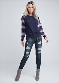 Full front view Plaid Sleeve Sweatshirt