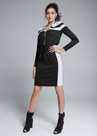 Full front view Hooded Zip Lounge Dress