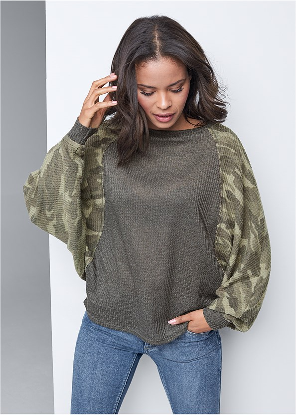 Waffle Knit Camo Lounge Top,Mid Rise Color Skinny Jeans,Seamless Unlined Bra,Buckle Knee High Boots