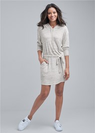 Full front view Cozy Waffle Knit Dress