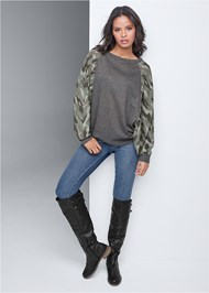 Full front view Waffle Knit Camo Lounge Top