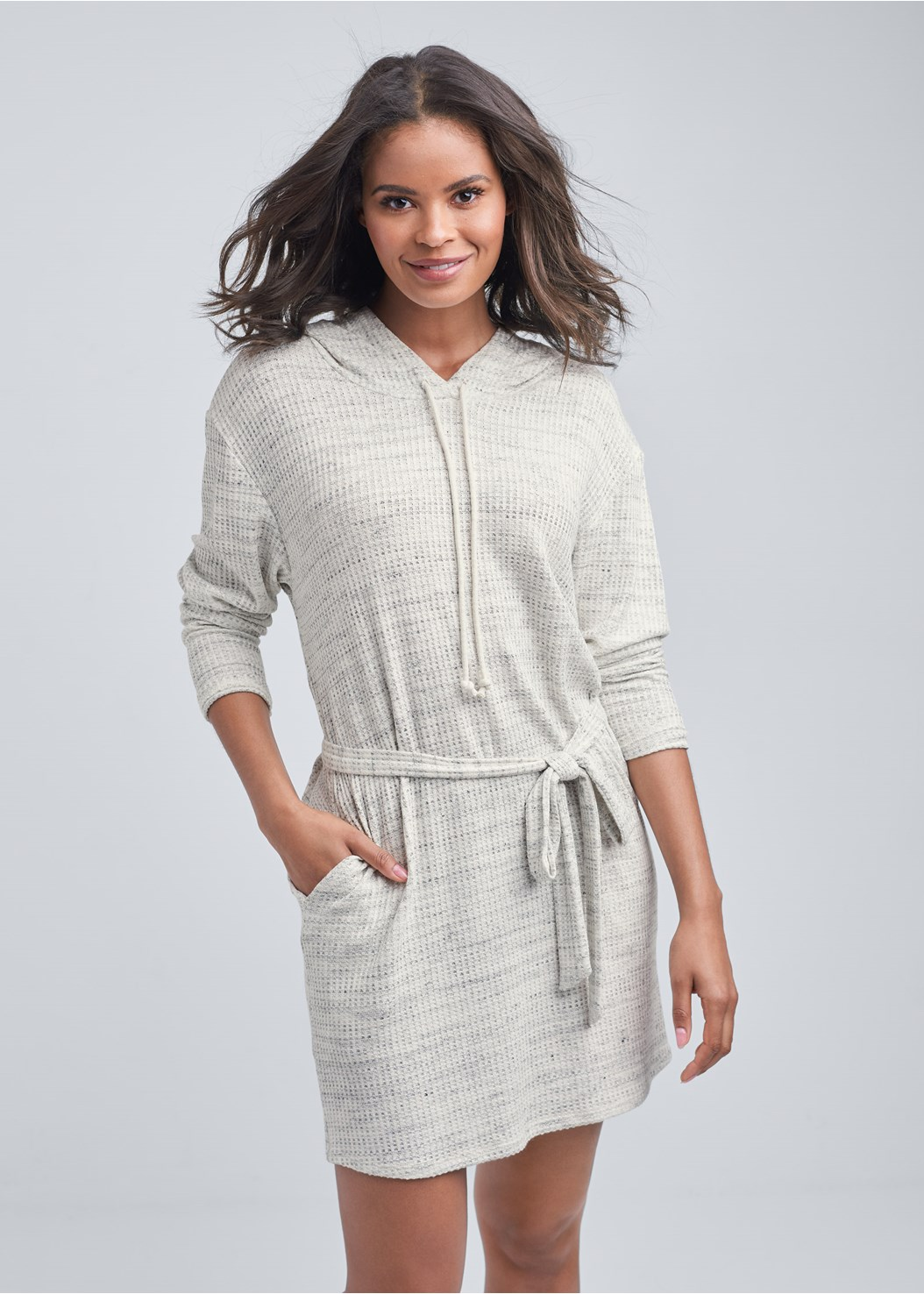 Cozy Waffle Knit Dress,Seamless Lace Comfort Bra
