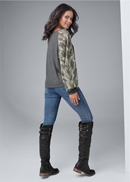Full back view Waffle Knit Camo Lounge Top