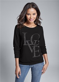 Cropped front view Back Detail Love Sweatshirt