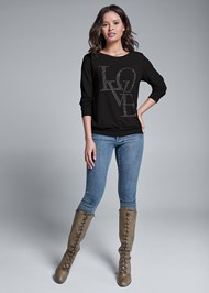 Full front view Back Detail Love Sweatshirt