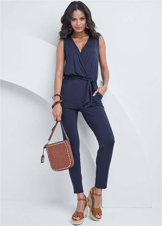 TIE FRONT JUMPSUIT,EMBELLISHED WEDGES,SQUARE RAFFIA EARRINGS,STEVE MADDEN B CORINA