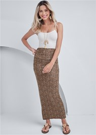 Front View Gathered Waist Long Skirt